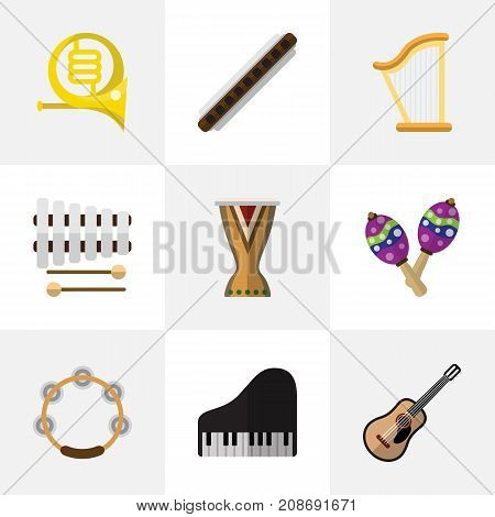 Set Of 9 Editable Melody Flat Icons. Includes Symbols Such As Portal, Zither, Sticks And More