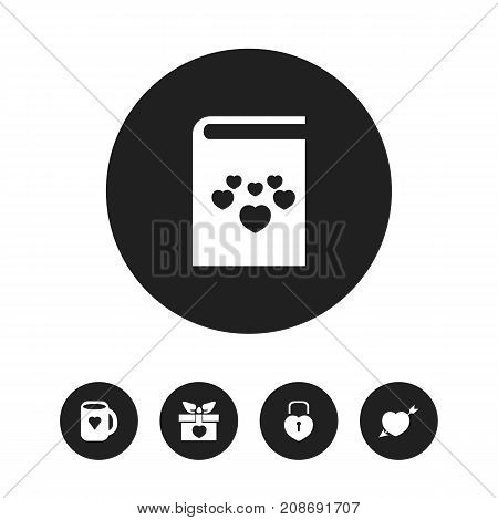 Set Of 5 Editable Love Icons. Includes Symbols Such As Tea Mug, Passion, Present And More