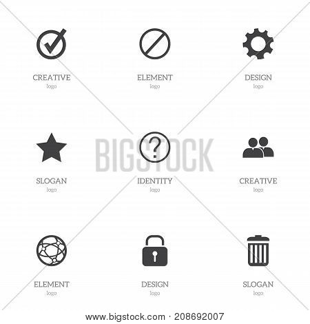 Set Of 9 Editable Web Icons. Includes Symbols Such As Bookmark, Security, Group And More