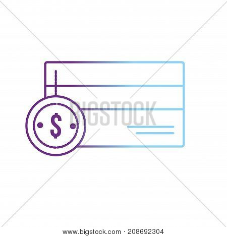 line credit card electronic with coin cash money vector illustration