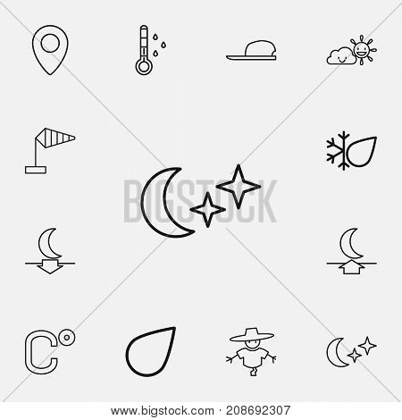 Set Of 12 Editable Climate Outline Icons. Includes Symbols Such As Pinpoint, Lunar, Breeze Vane And More