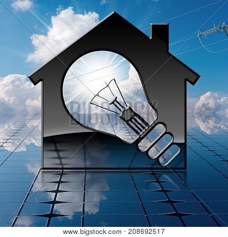 3D illustration of a symbol in the shape of house with a light bulb on a solar panel and sky with clouds sun rays and a power line