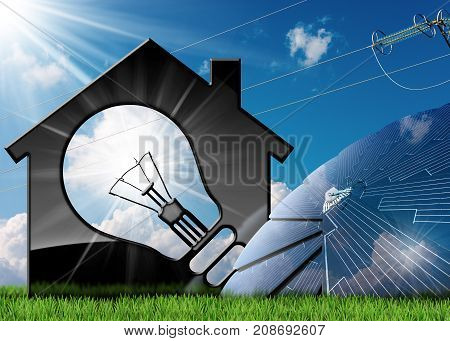 3D illustration of a model house with a light bulb solar panels and a power line. On a blue sky with clouds sun rays and green grass - Renewable energies concept