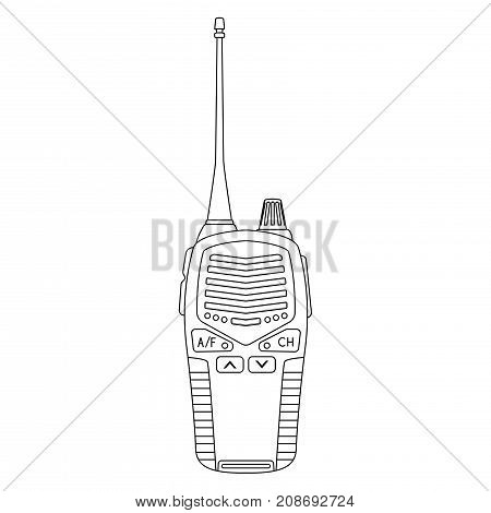 Radio transceiver. Portable device with antenna. Vector outline illustration isolated on white background