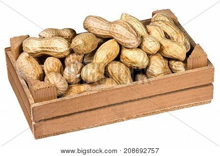 Group of peanuts in shell in a wooden crate isolated on white background