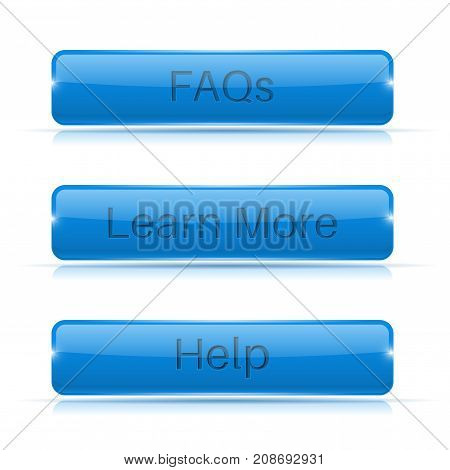 Set of blue buttons. Menu elements. Vector 3d illustration isolated on white background