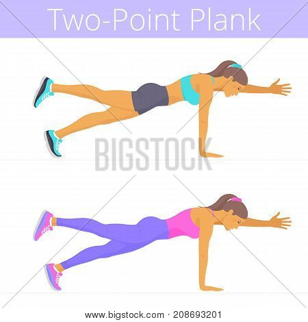 Beautiful young women are doing the two-point plank exercise. Flat illustration of caucasian sporty girls are training in the plank position. Vector active people set isolated on white background.