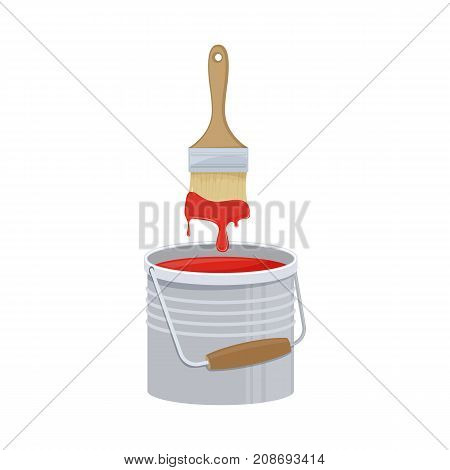Bucket with paint and brush on white background cartoon illustration of repair tool. Vector