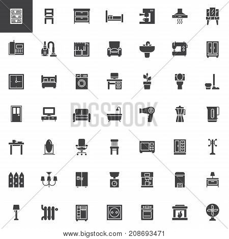 Home interiors furniture vector icons set, modern solid symbol collection, filled pictogram pack. Signs, logo illustration. Set includes icons as bookcase, chair, chest of drawers, armchair, tv