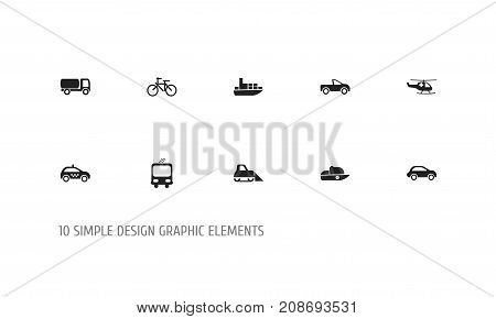 Set Of 10 Editable Transport Icons. Includes Symbols Such As Transportation, Ship, Tanker And More