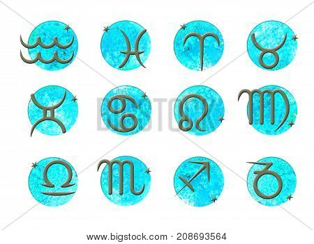 Set of simple stroke zodiac signs on watercolor circles background. Bright colorful round shapes blue. Isolated on white background