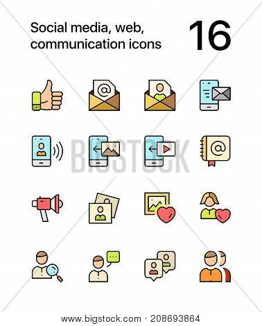 Colored Social, web, communication icons for web and mobile design pack 2