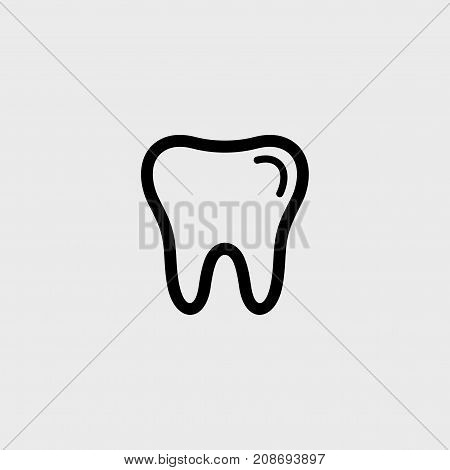 Tooth flat vector icon on a gray background