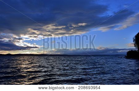 Evening Lake In Cloudy Weather