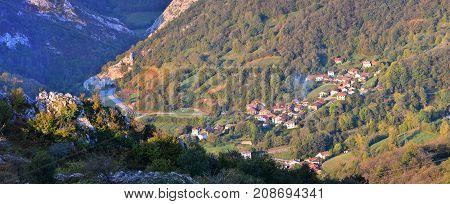 Dawn Over The Village Of Campo De Caso In Asturias.