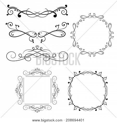 Vintage ornaments. Collection of black dividers. Vector illustration isolated on white background