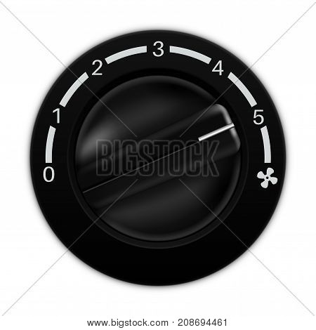 Fan speed selector. Car dashboard black switch. Vector illustration isolated on white background