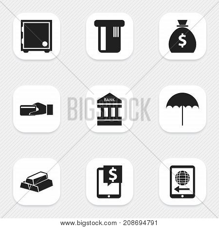 Set Of 9 Editable Investment Icons. Includes Symbols Such As Payment, International Delivery, Strongbox And More