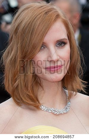 CANNES, FRANCE - MAY 11: Jessica Chastain attends the 'Cafe Society' premiere and the Opening Night Gala . 69th annual Cannes Film Festival at the Palais des Festivals on May 11, 2016 in Cannes