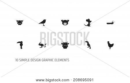 Set Of 10 Editable Zoology Icons. Includes Symbols Such As Tropical Bird, Mouse, Cock And More