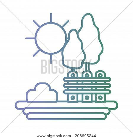 line landscape with trees and grille with bush vector illustration