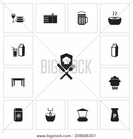 Set Of 13 Editable Kitchen Icons. Includes Symbols Such As Fridge, Ale, Plates With Glass And More