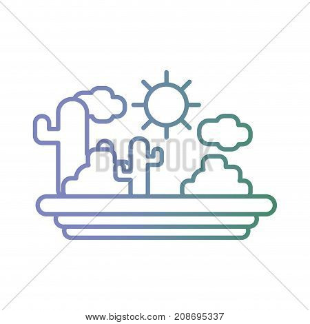 line natural landscape with cactus and bush vector illustration