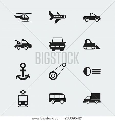 Set Of 12 Editable Transportation Icons. Includes Symbols Such As Luminary, Shipping, City Drive And More