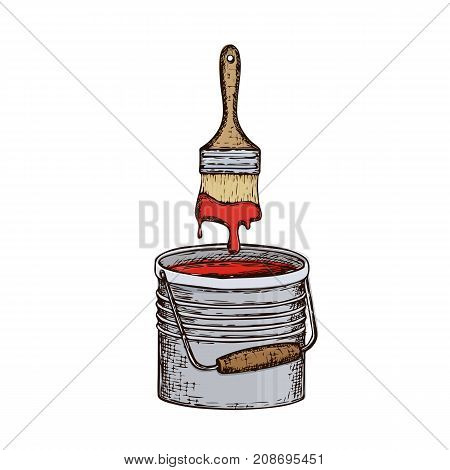Bucket with paint and brush on white background colorful sketch illustration of repair tool. Vector