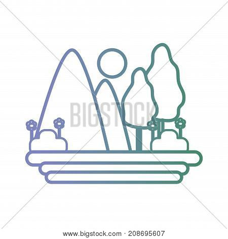 line natural landscape with mountain and bush vector illustration