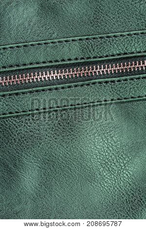 green artificial leather with zipper for background