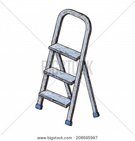 Stepladder on white background colorful sketch illustration of repair tool. Vector