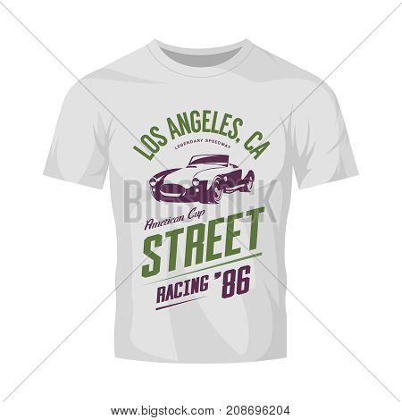 Vintage roadster car vector logo isolated on white t-shirt mock up.  Premium quality old sport vehicle tee-shirt logotype emblem illustration. Los Angeles racing street wear retro tee print design.
