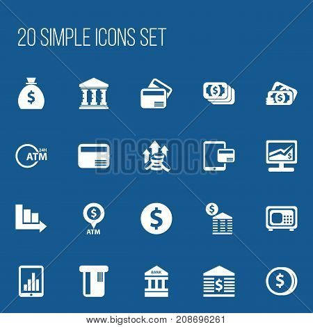 Set Of 20 Editable Banking Icons. Includes Symbols Such As Loan, Atm, Unitersity And More
