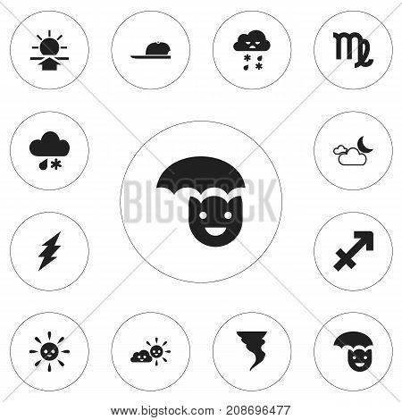 Set Of 12 Editable Climate Icons. Includes Symbols Such As Semidarkness, Archer, Hat And More