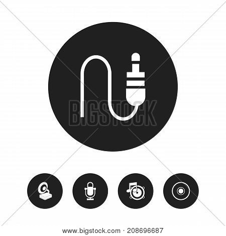 Set Of 5 Editable Audio Icons. Includes Symbols Such As Phonograph, Stereo Plug, Loudspeaker And More