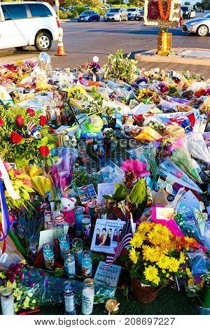 Las Vegas, USA - OCT 07 ,2017 : Dedicated flower bed of the Las Vegas Shooting victims  Near the Mandalay Bay on the Las Vegas Strip