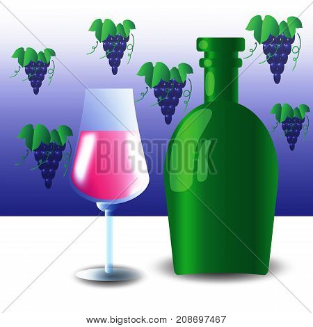 Green Glass Bottle and Wineglass on White Table
