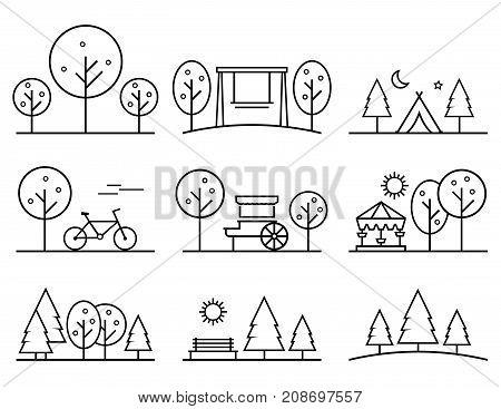 set of outline design vector icons. parkland concept symbol on outline design style