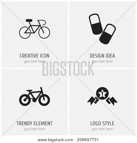 Set Of 4 Editable Complex Icons. Includes Symbols Such As Bicycle, Velocipede, Award And More