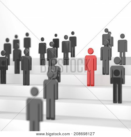 Leadership Concept, Red Man Among Blacks. 3D Rendering.