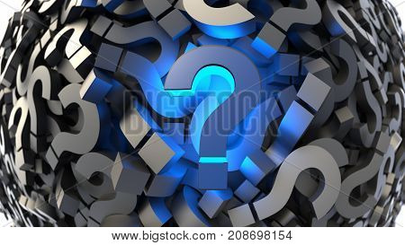 Glowing Blue Question Mark With A Lot Of Glossy Blacks, Top View. 3D Rendering.