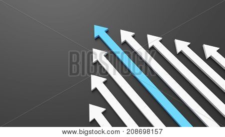Leadership, Success, And Teamwork Concept, Blue Leader Arrow Leading White Arrows, On Black Backgrou