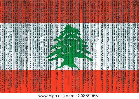 Data Protection Lebanon Flag. Lebanon Flag With Binary Code.