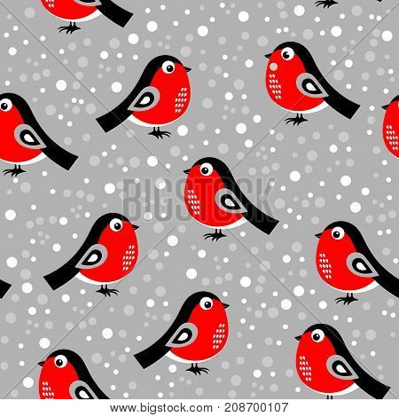 Christmas pattern with bullfinches. Vector illustration on a gray background