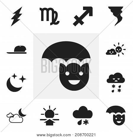 Set Of 12 Editable Weather Icons. Includes Symbols Such As Sleet, Hat, Virgin And More