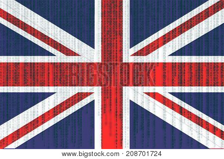Data Protection Great Britain Flag. Union Jack Flag With Binary Code.