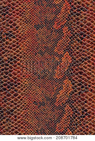 full frame scaled abstract brown patterned reptile skin surface