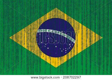 Data Protection Brasil Flag. Brazilian Flag With Binary Code.
