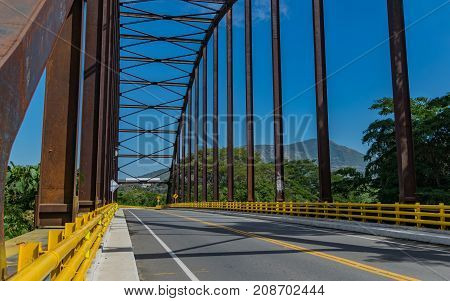 Photograph on the new bridge over de Bogota river that connects Tocaima with Agua de Dios Cundinamarca Colombia